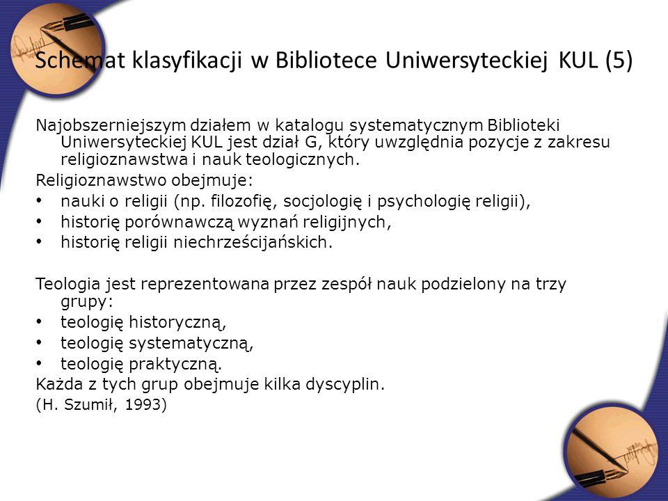 Schemat klasyfikacji w Bibliotece Uniwersyteckiej KUL (5)