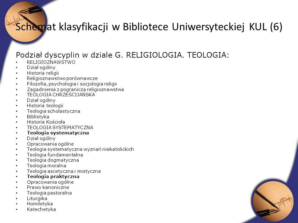 Schemat klasyfikacji w Bibliotece Uniwersyteckiej KUL (6)