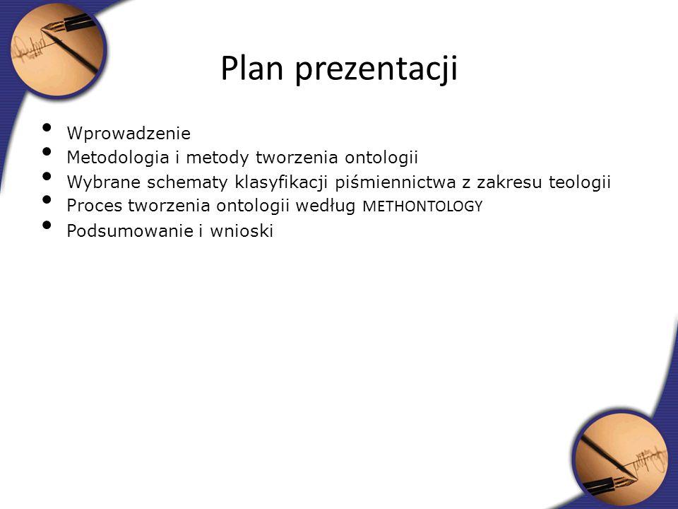 Plan prezentacji Wprowadzenie Metodologia i metody tworzenia ontologii