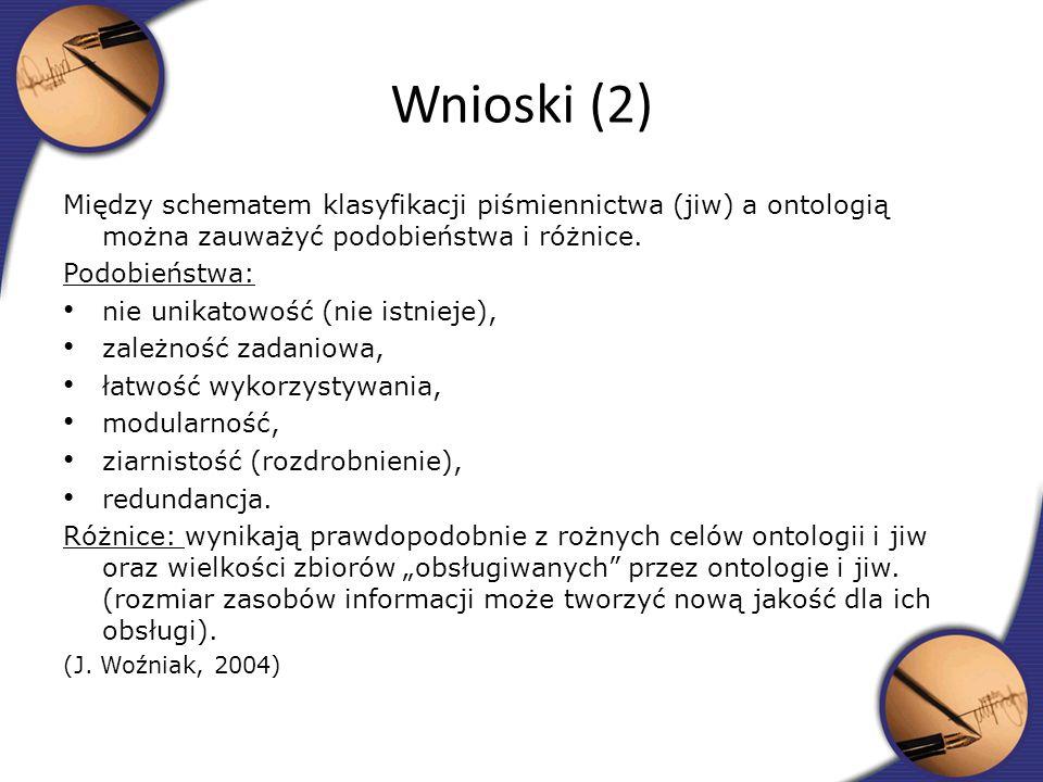 Wnioski (2)Między schematem klasyfikacji piśmiennictwa (jiw) a ontologią można zauważyć podobieństwa i różnice.