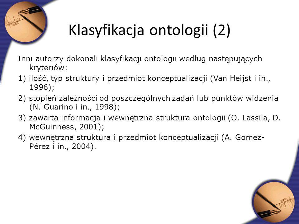 Klasyfikacja ontologii (2)