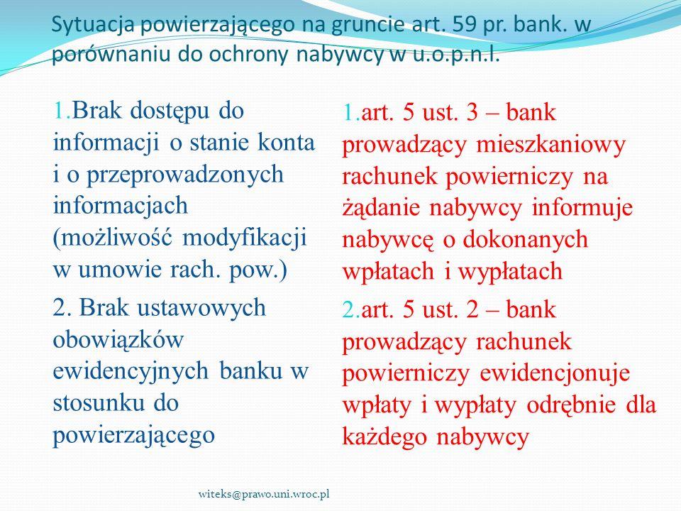 Sytuacja powierzającego na gruncie art. 59 pr. bank
