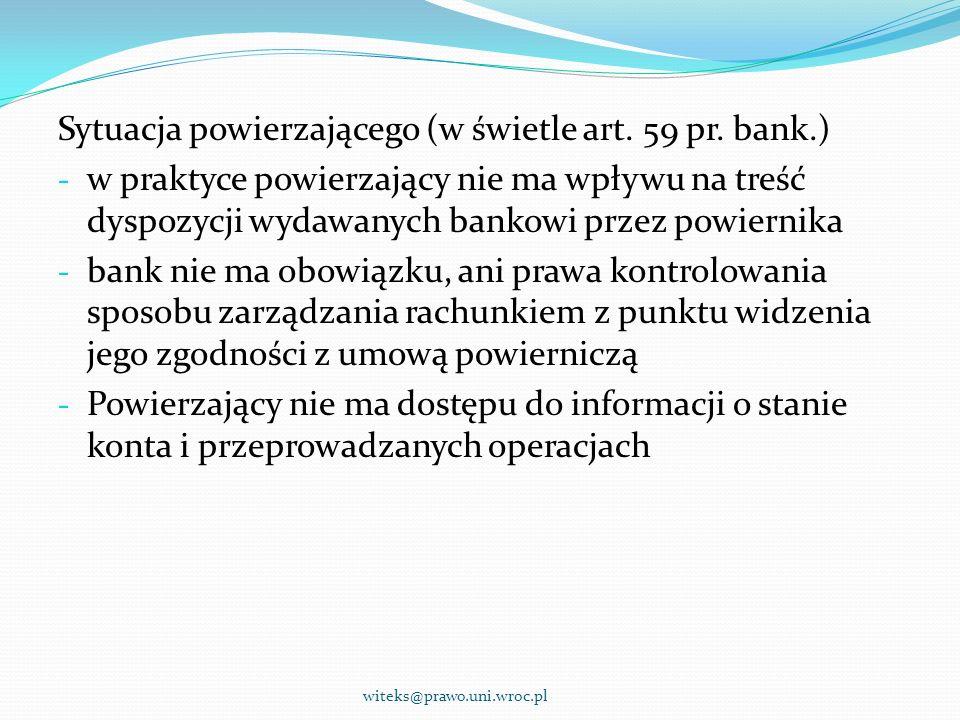 Sytuacja powierzającego (w świetle art. 59 pr. bank.)
