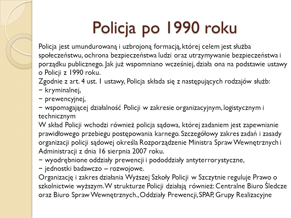 Policja po 1990 roku
