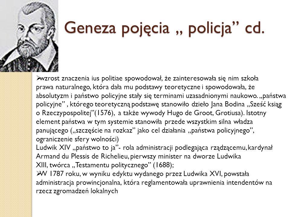 """Geneza pojęcia """" policja cd."""