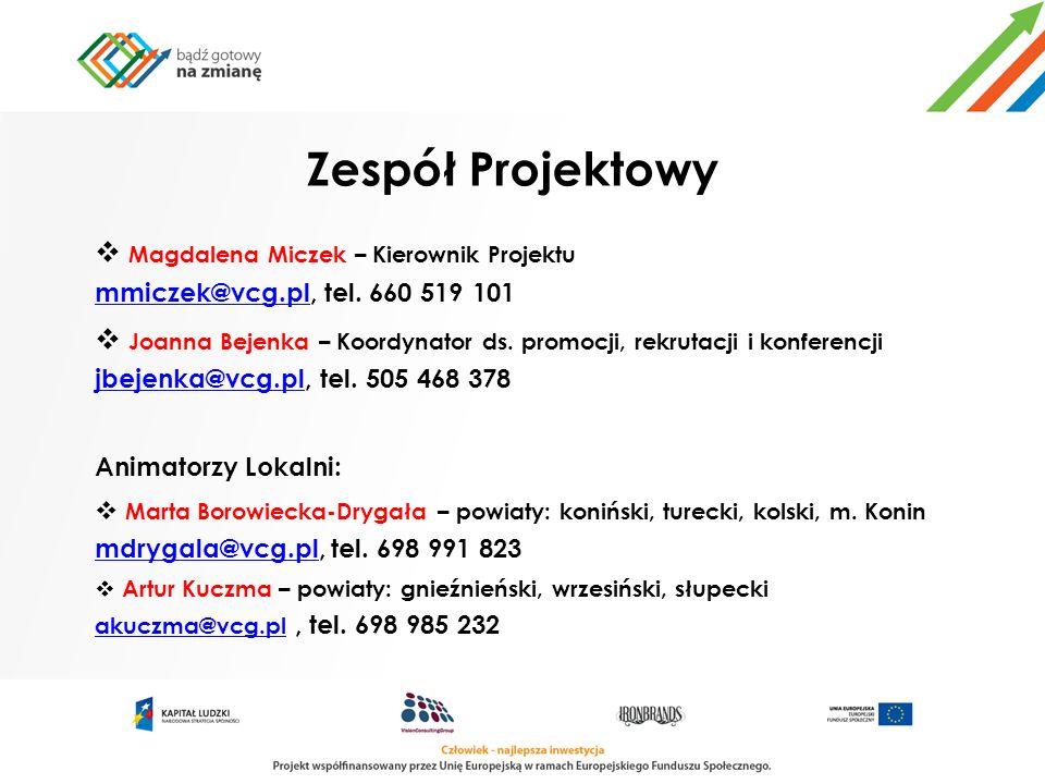 Zespół Projektowy Magdalena Miczek – Kierownik Projektu mmiczek@vcg.pl, tel. 660 519 101.