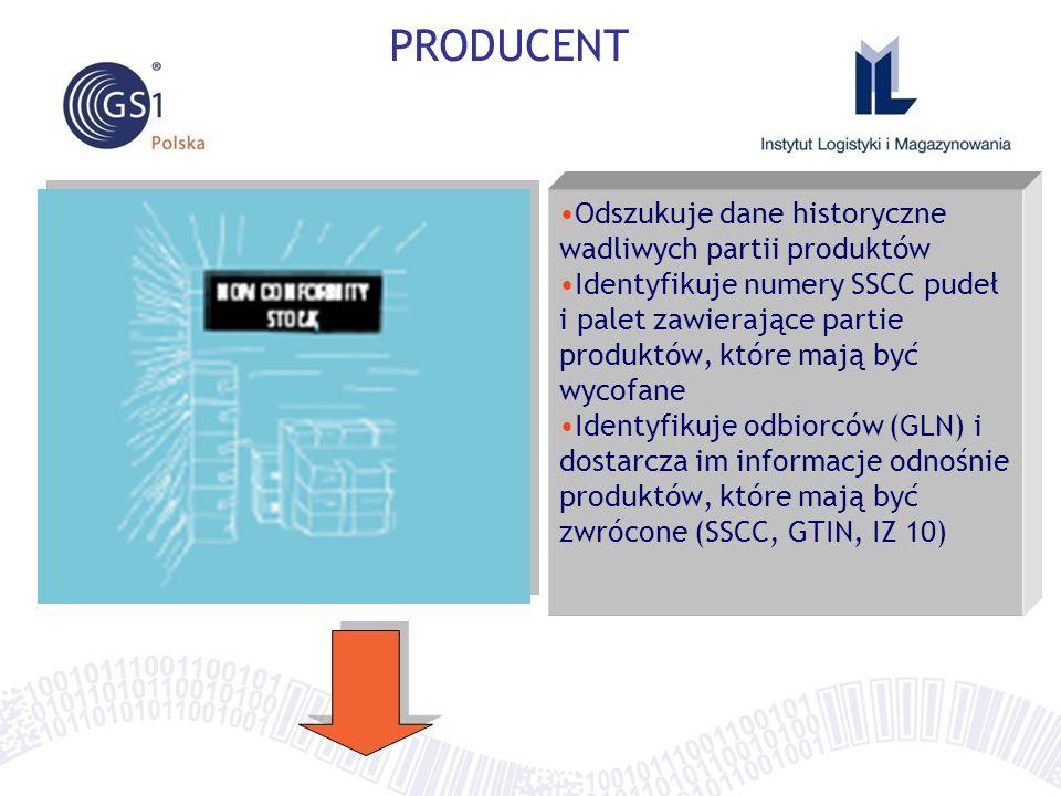 PRODUCENT Odszukuje dane historyczne wadliwych partii produktów