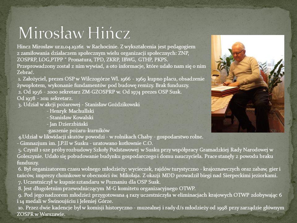 Mirosław Hińcz Hincz Mirosław ur.11.04.1926r. w Rachocinie. Z wykształcenia jest pedagogiem.