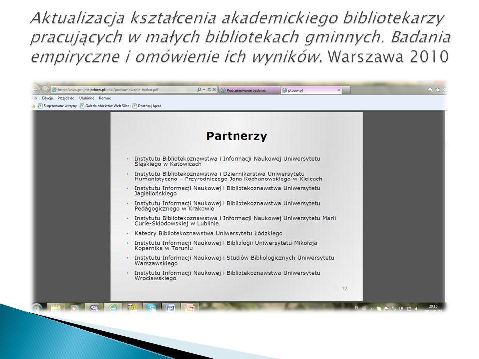 Aktualizacja kształcenia akademickiego bibliotekarzy pracujących w małych bibliotekach gminnych.