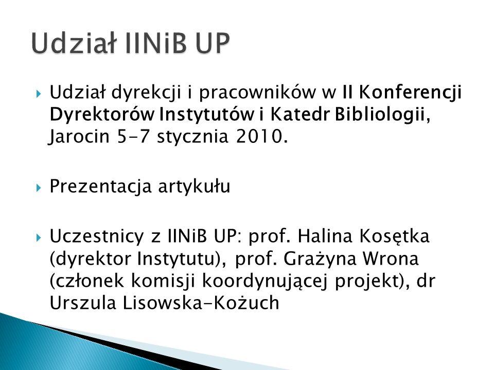 Udział IINiB UP Udział dyrekcji i pracowników w II Konferencji Dyrektorów Instytutów i Katedr Bibliologii, Jarocin 5-7 stycznia 2010.