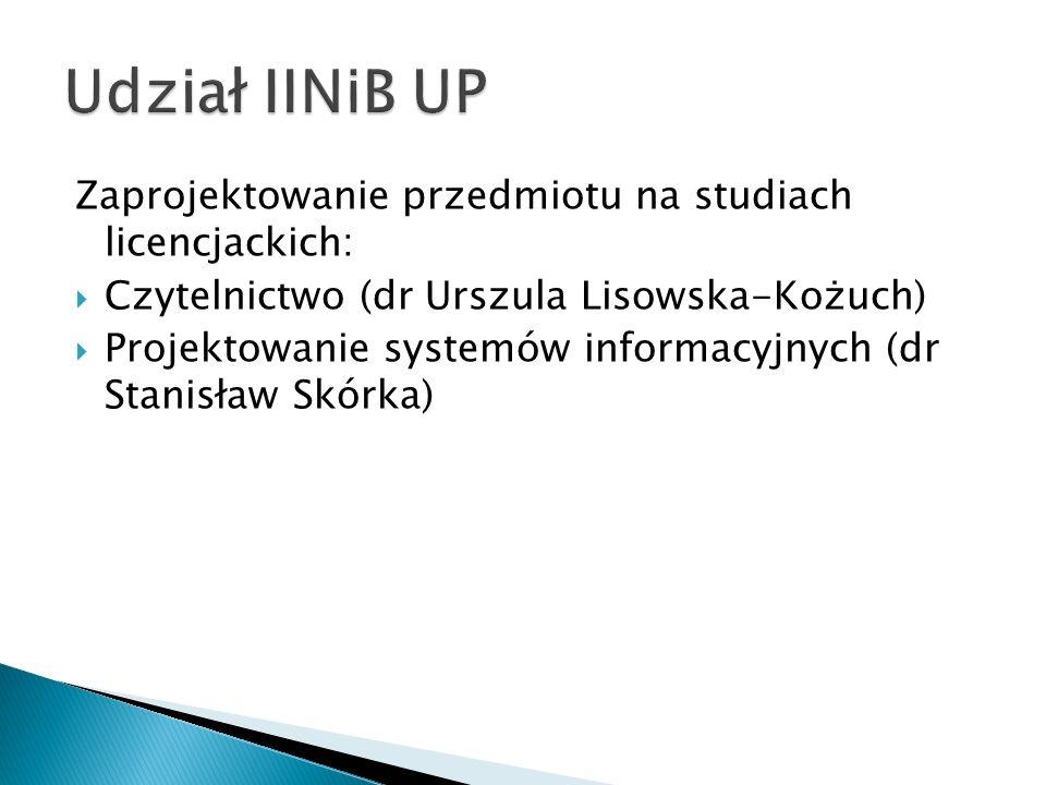Udział IINiB UP Zaprojektowanie przedmiotu na studiach licencjackich: