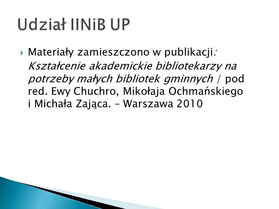 Udział IINiB UP Materiały zamieszczono w publikacji: