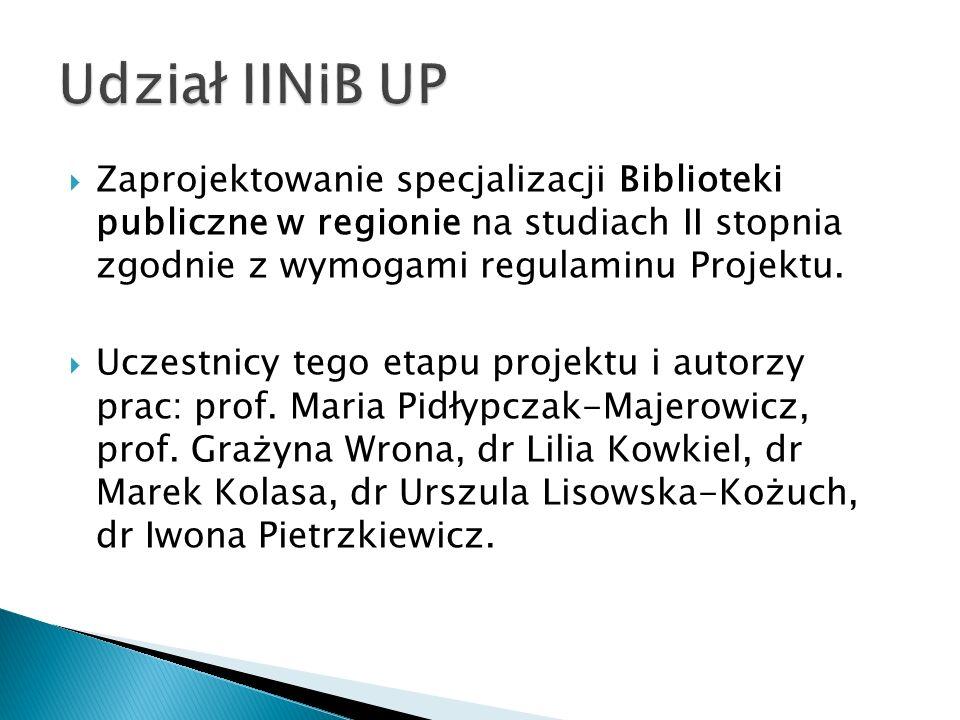 Udział IINiB UP Zaprojektowanie specjalizacji Biblioteki publiczne w regionie na studiach II stopnia zgodnie z wymogami regulaminu Projektu.