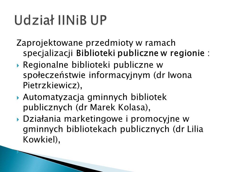 Udział IINiB UP Zaprojektowane przedmioty w ramach specjalizacji Biblioteki publiczne w regionie :
