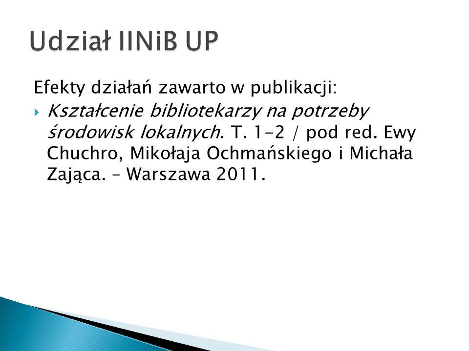 Udział IINiB UP Efekty działań zawarto w publikacji: