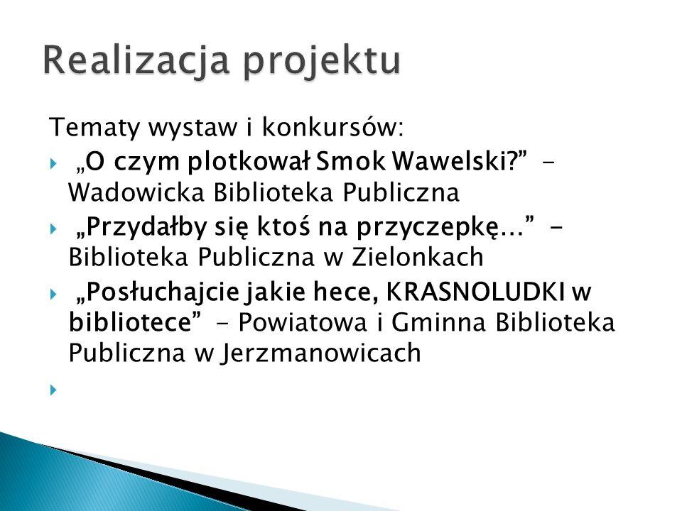 Realizacja projektu Tematy wystaw i konkursów: