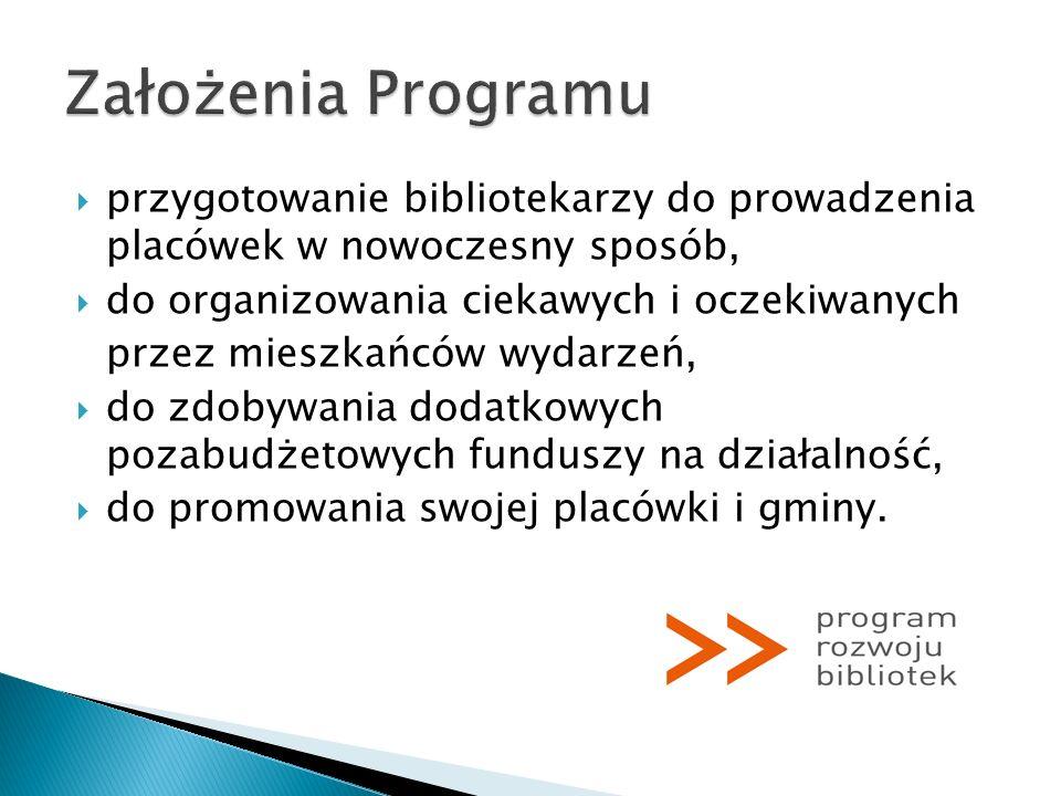 Założenia Programu przygotowanie bibliotekarzy do prowadzenia placówek w nowoczesny sposób, do organizowania ciekawych i oczekiwanych.