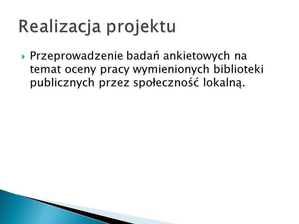 Realizacja projektu Przeprowadzenie badań ankietowych na temat oceny pracy wymienionych biblioteki publicznych przez społeczność lokalną.