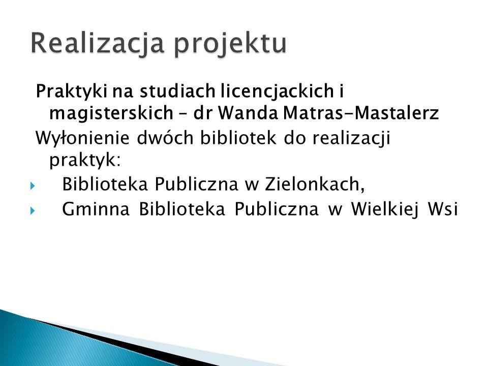 Realizacja projektu Praktyki na studiach licencjackich i magisterskich – dr Wanda Matras-Mastalerz.