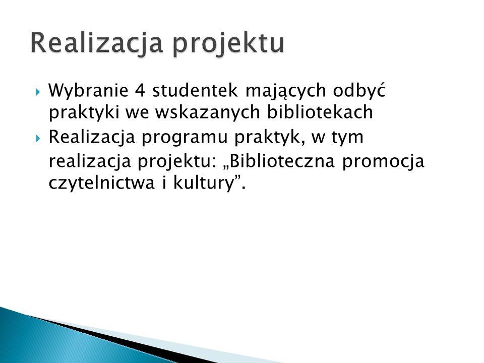Realizacja projektu Wybranie 4 studentek mających odbyć praktyki we wskazanych bibliotekach. Realizacja programu praktyk, w tym.