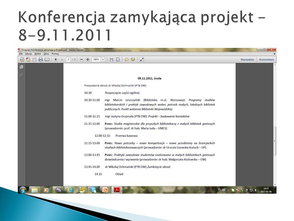 Konferencja zamykająca projekt - 8-9.11.2011