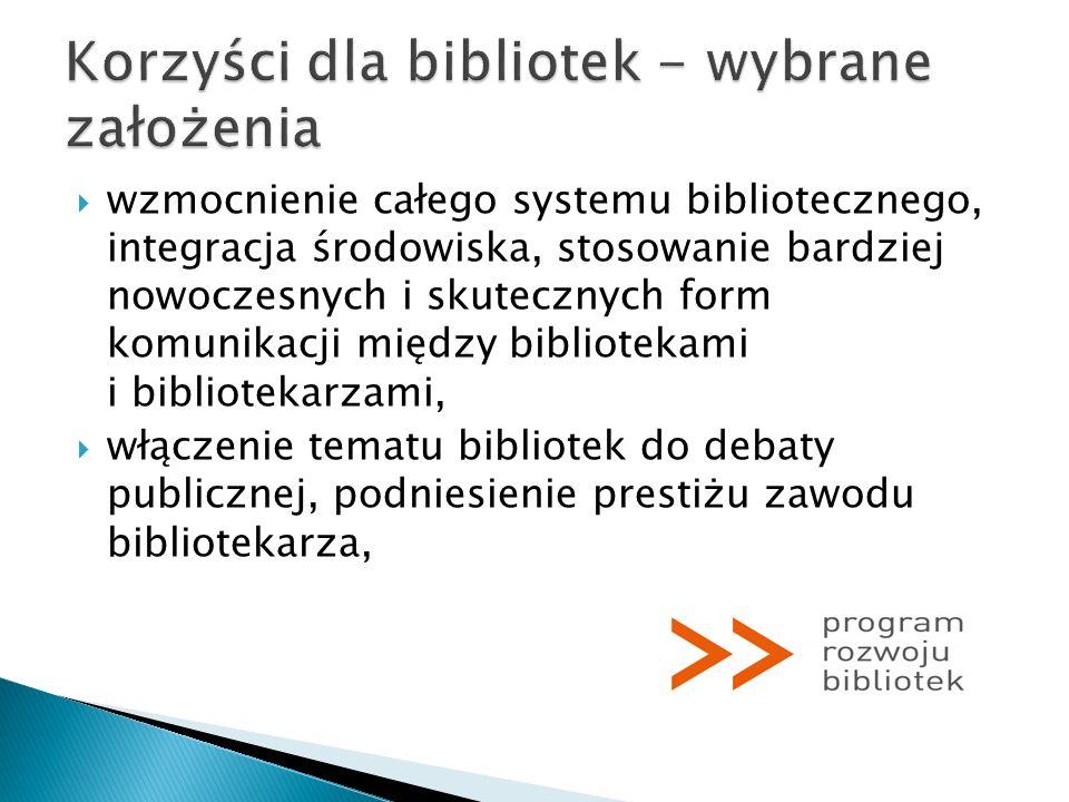 Korzyści dla bibliotek - wybrane założenia