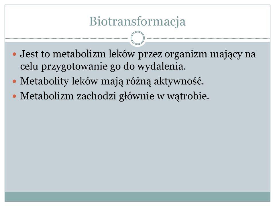Biotransformacja Jest to metabolizm leków przez organizm mający na celu przygotowanie go do wydalenia.