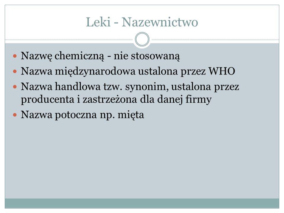 Leki - Nazewnictwo Nazwę chemiczną - nie stosowaną