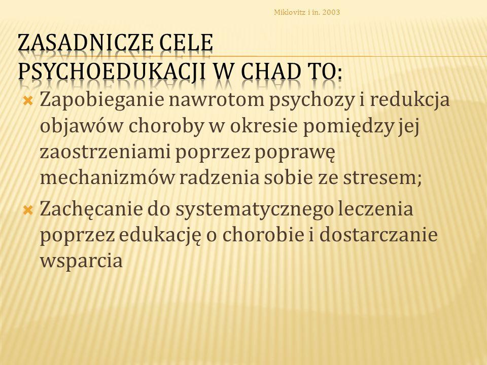 Zasadnicze cele psychoedukacji w CHAD to: