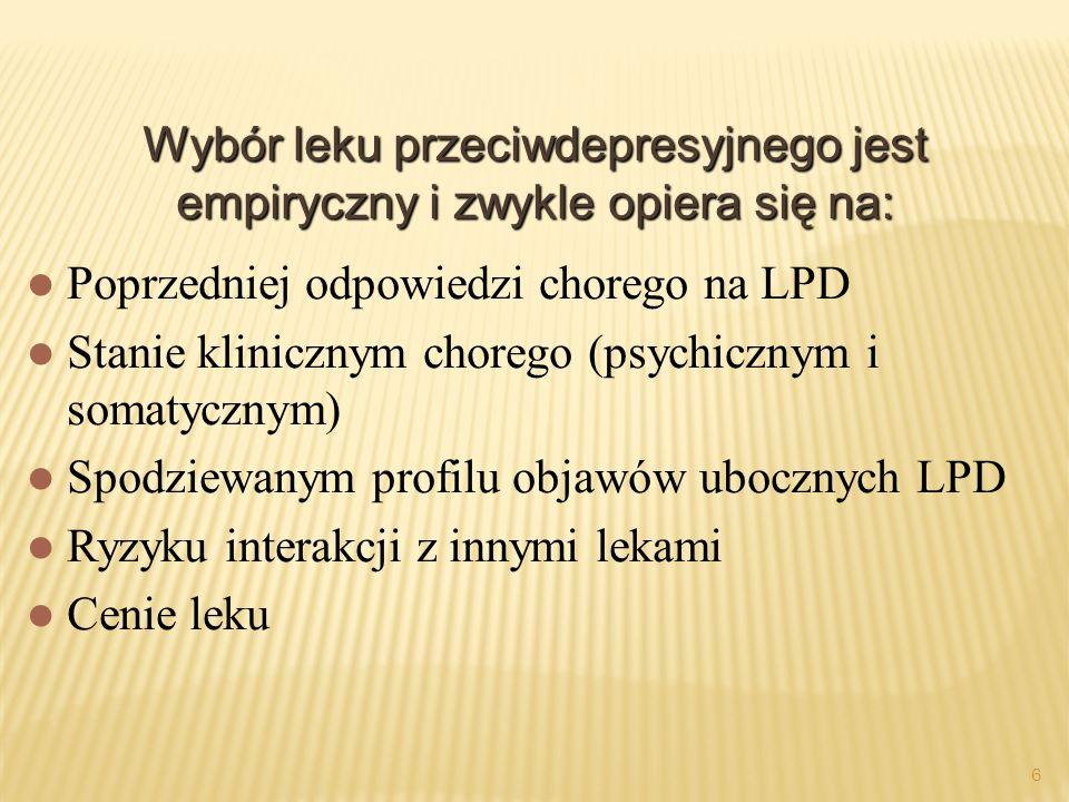 Wybór leku przeciwdepresyjnego jest empiryczny i zwykle opiera się na: