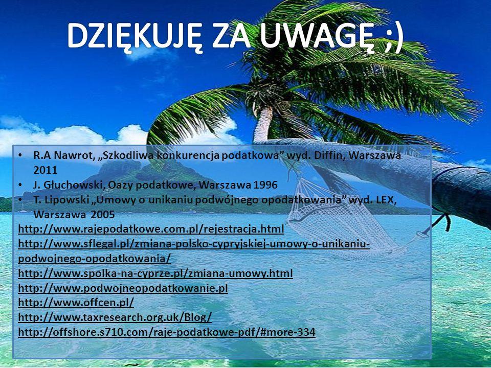 """DZIĘKUJĘ ZA UWAGĘ ;) R.A Nawrot, """"Szkodliwa konkurencja podatkowa wyd. Diffin, Warszawa 2011. J. Głuchowski, Oazy podatkowe, Warszawa 1996."""