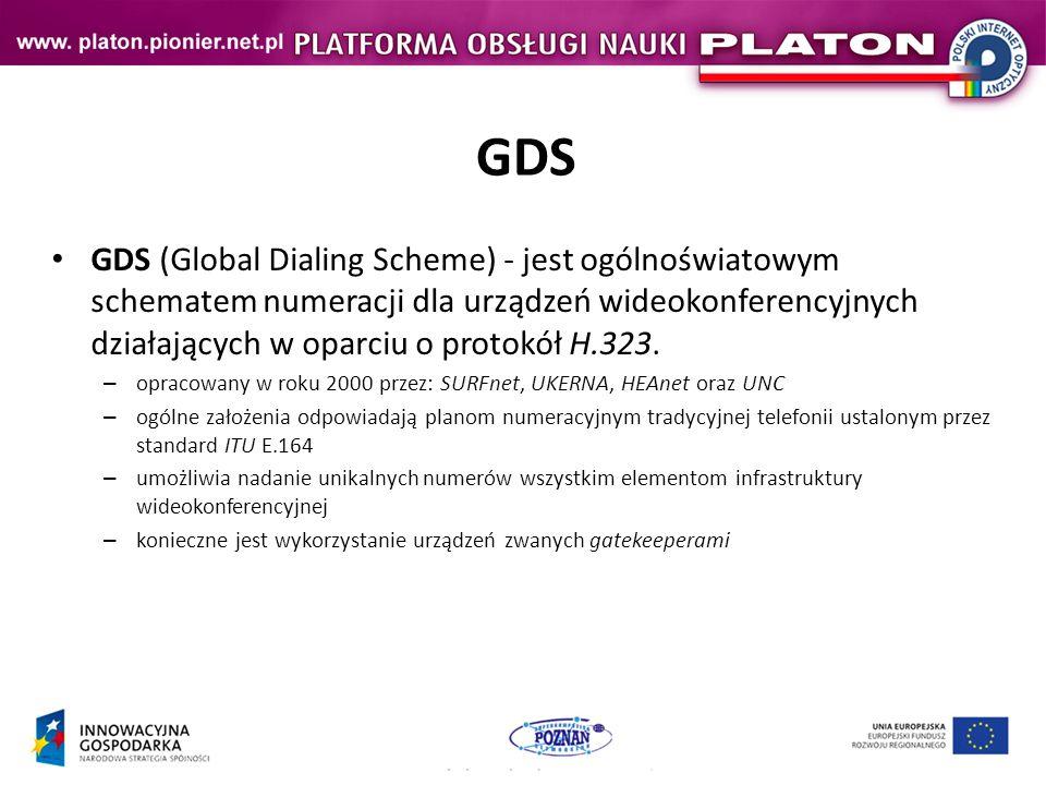 GDS GDS (Global Dialing Scheme) - jest ogólnoświatowym schematem numeracji dla urządzeń wideokonferencyjnych działających w oparciu o protokół H.323.