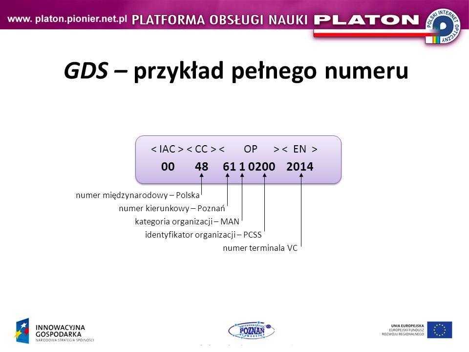 GDS – przykład pełnego numeru