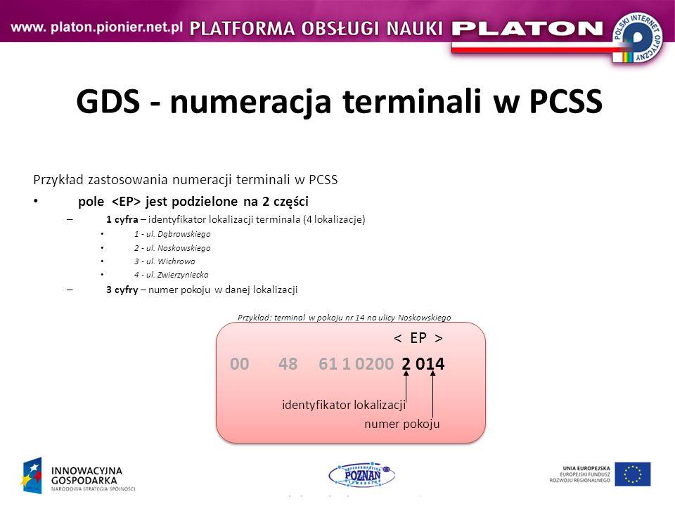GDS - numeracja terminali w PCSS