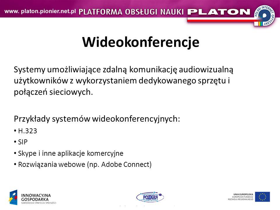 Wideokonferencje Systemy umożliwiające zdalną komunikację audiowizualną użytkowników z wykorzystaniem dedykowanego sprzętu i połączeń sieciowych.