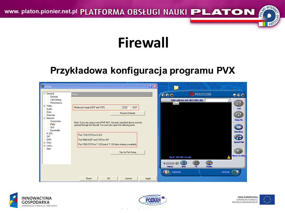 Przykładowa konfiguracja programu PVX