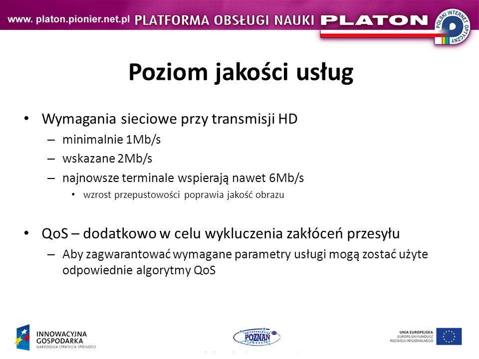 Poziom jakości usług Wymagania sieciowe przy transmisji HD