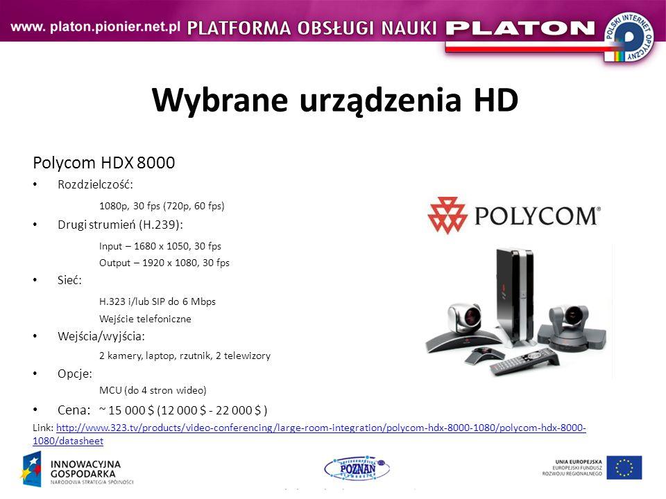 Wybrane urządzenia HD Polycom HDX 8000 1080p, 30 fps (720p, 60 fps)