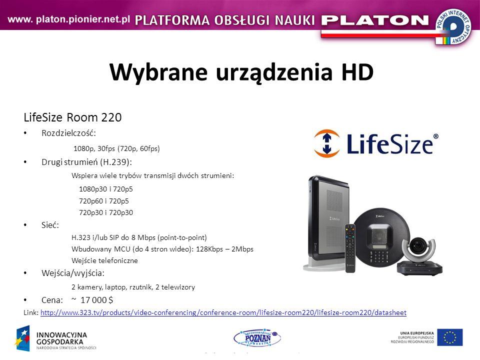 Wybrane urządzenia HD LifeSize Room 220 1080p, 30fps (720p, 60fps)