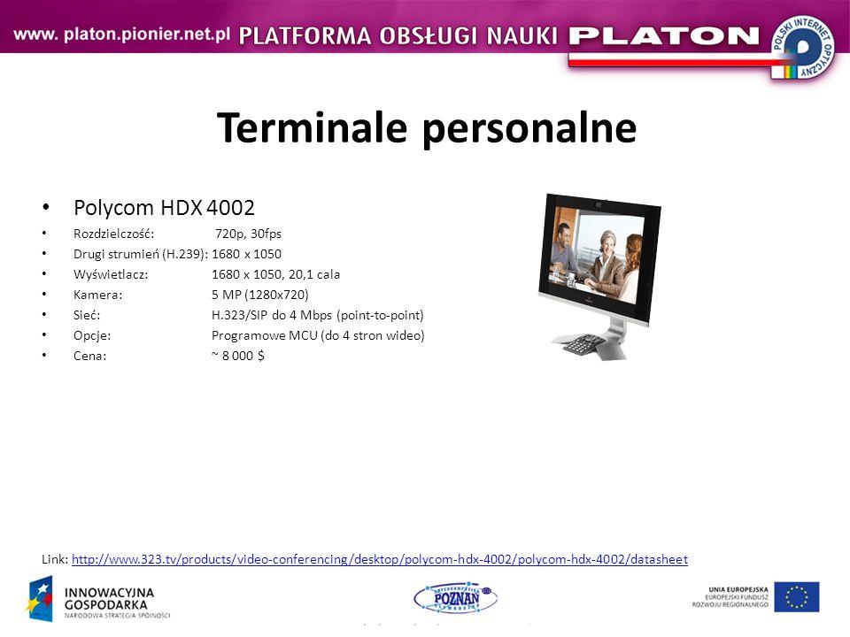 Terminale personalne Polycom HDX 4002 Rozdzielczość: 720p, 30fps