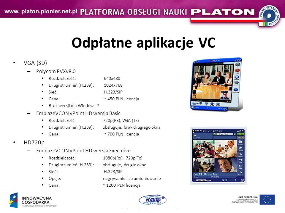 Odpłatne aplikacje VC VGA (SD) HD720p Polycom PVXv8.0