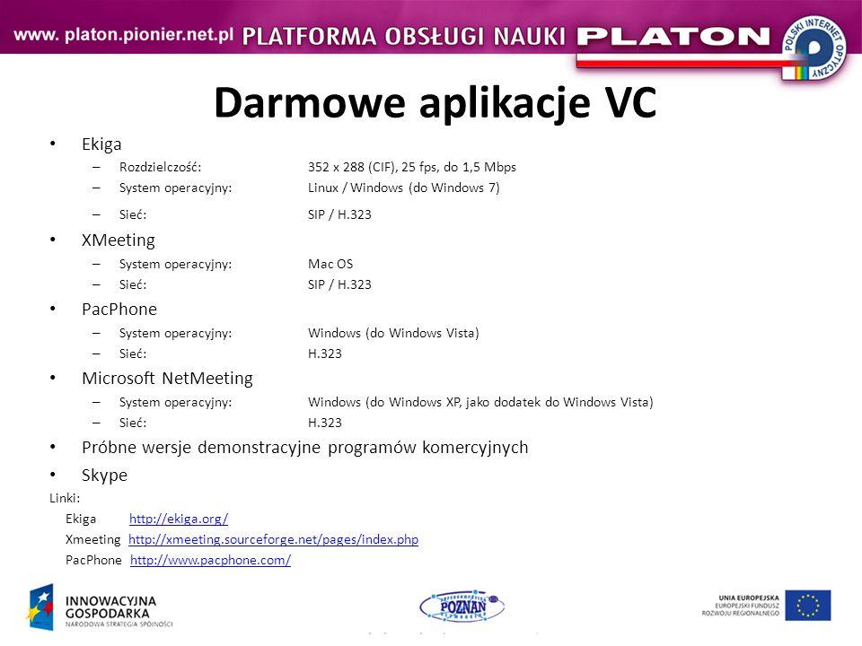 Darmowe aplikacje VC Ekiga XMeeting PacPhone Microsoft NetMeeting