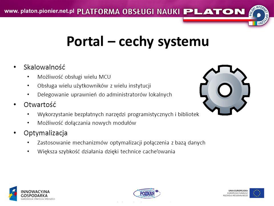 Portal – cechy systemu Skalowalność Otwartość Optymalizacja