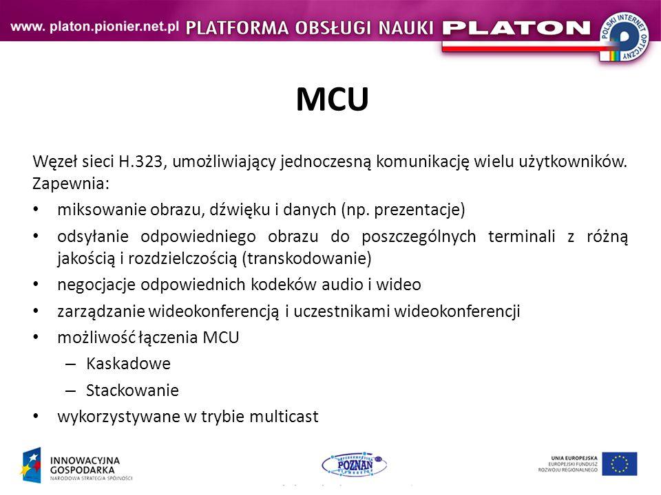 MCU Węzeł sieci H.323, umożliwiający jednoczesną komunikację wielu użytkowników. Zapewnia: miksowanie obrazu, dźwięku i danych (np. prezentacje)