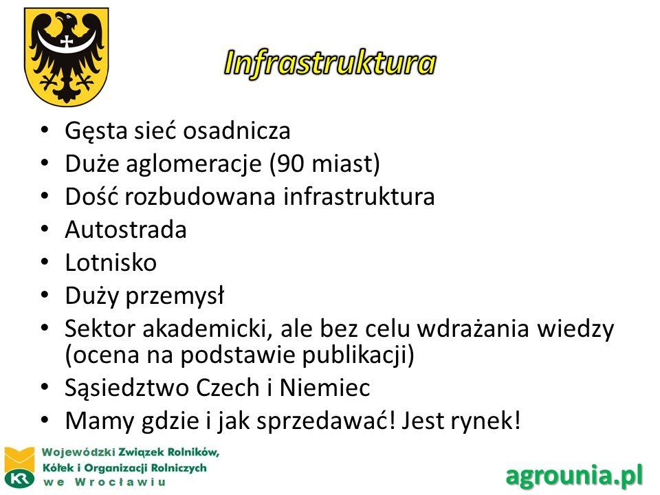 Infrastruktura agrounia.pl Gęsta sieć osadnicza