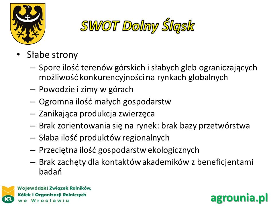 SWOT Dolny Śląsk agrounia.pl Słabe strony