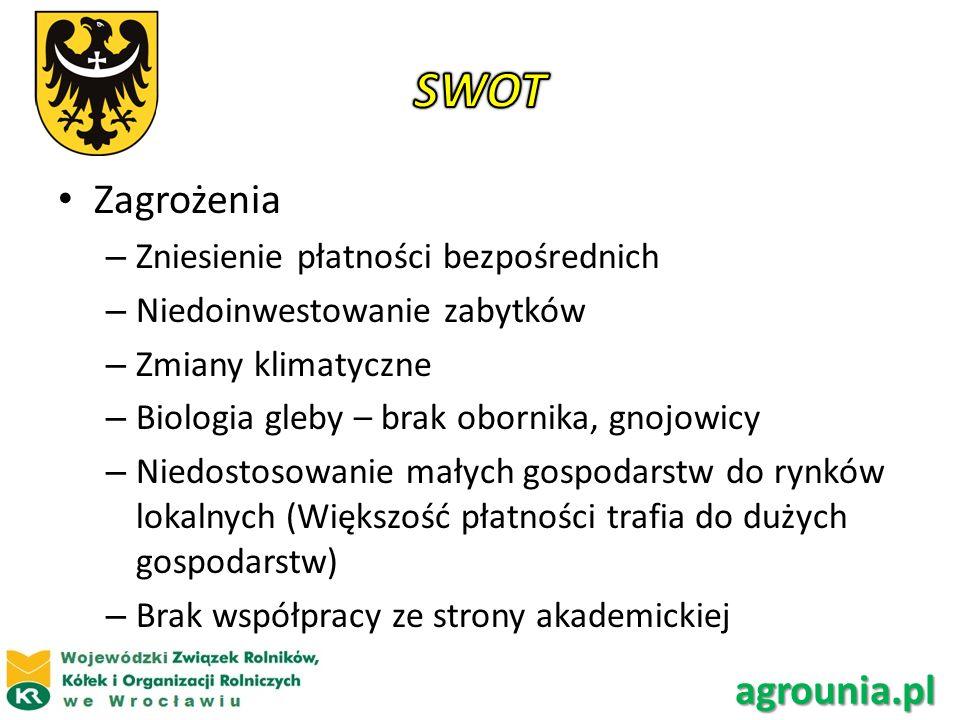 SWOT Zagrożenia agrounia.pl Zniesienie płatności bezpośrednich