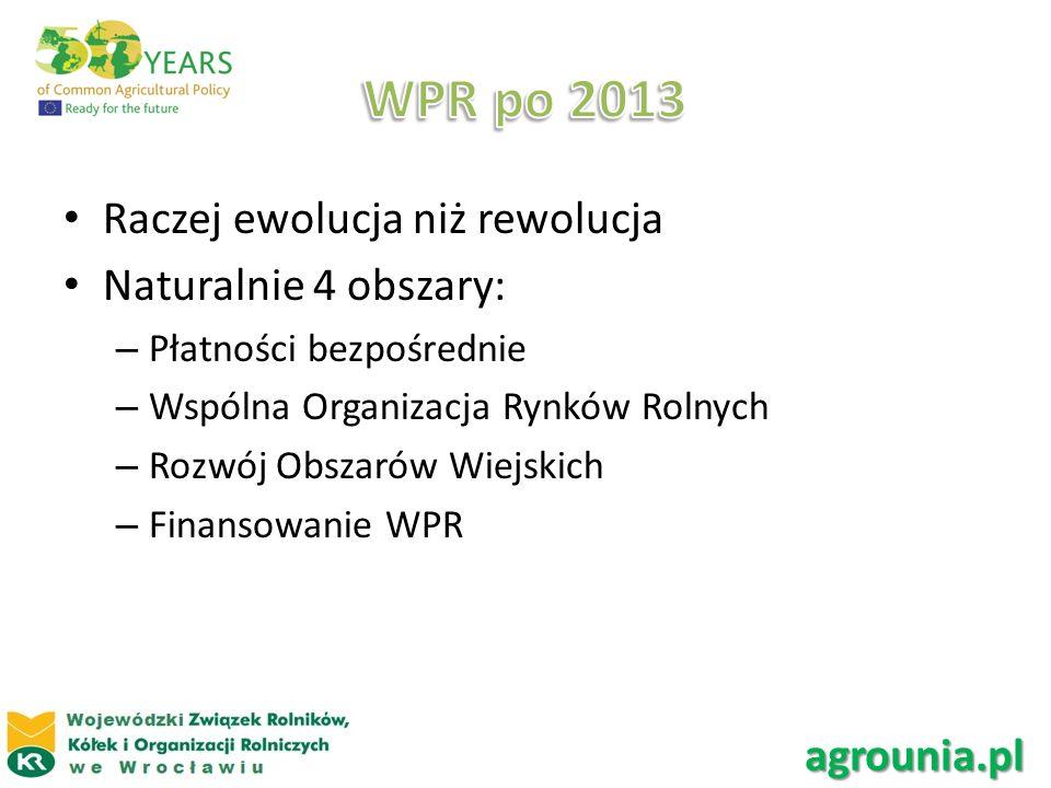 WPR po 2013 Raczej ewolucja niż rewolucja Naturalnie 4 obszary: