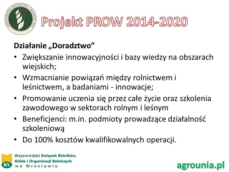 """Projekt PROW 2014-2020 agrounia.pl Działanie """"Doradztwo"""
