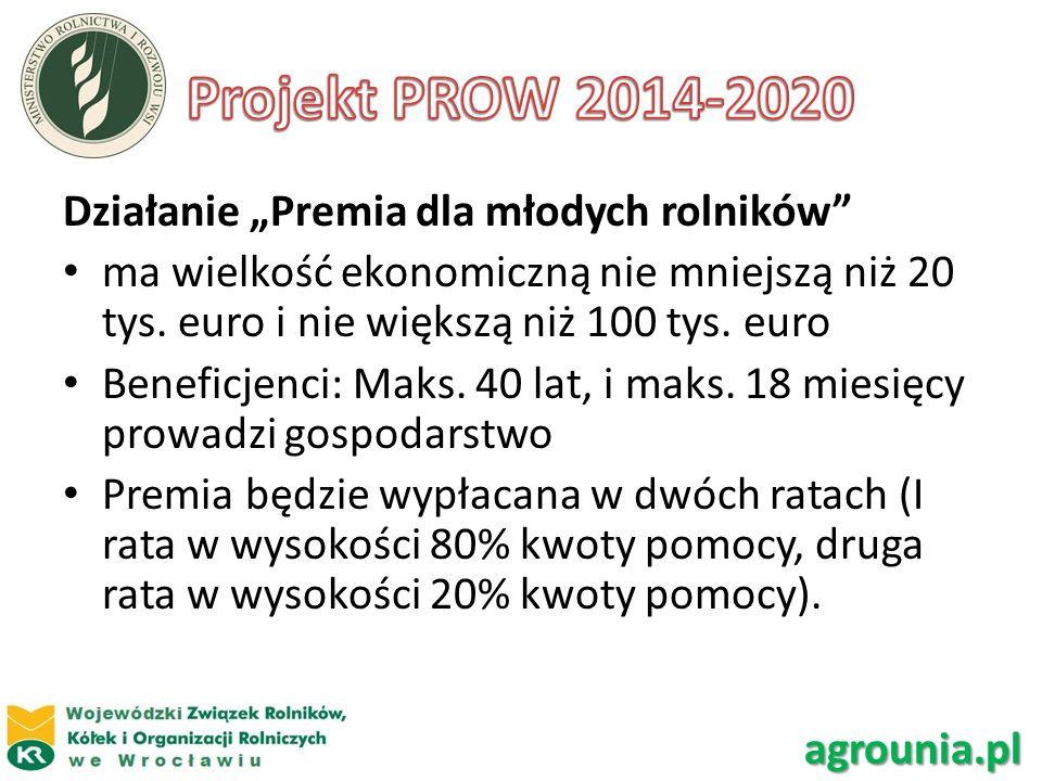 """Projekt PROW 2014-2020 Działanie """"Premia dla młodych rolników"""